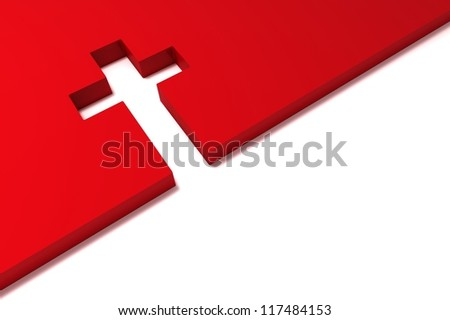 abstract red cross isolated on white background