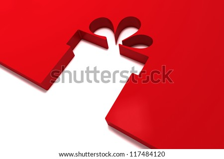 abstract red gift isolated on white background