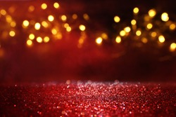 abstract Red glitter lights background. defocused