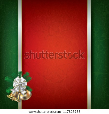 Abstract red grunge background with Christmas bells and white ribbon