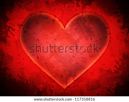 abstract red heart grunge background