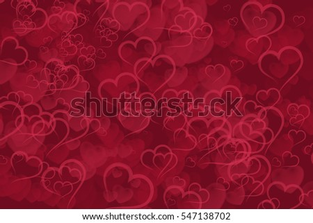 Abstract red hearts bokeh background