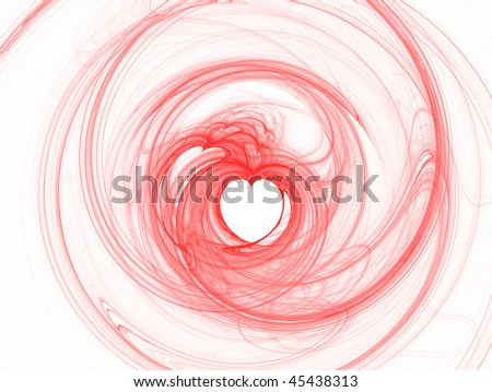 Abstract red hearts on white background
