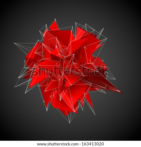 abstract red modern triangular shape on a black background