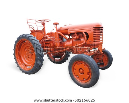 Abstract red old tractor isolated over white background