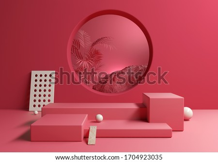 Abstract Red Pink blank display products with tropic background, 3d illustration Stockfoto ©