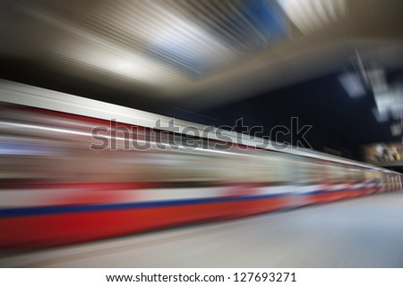 Abstract red wagon underground speed motion