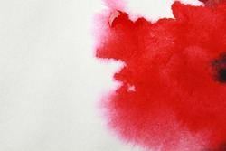 Abstract red watercolor hand painted background