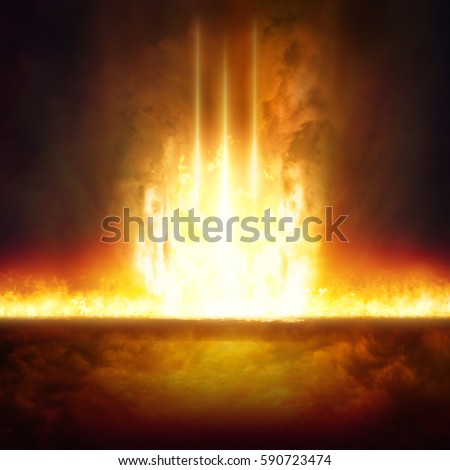 Abstract religious background - entrance to hell, end of world, judgment day comes, burning doorway to hell