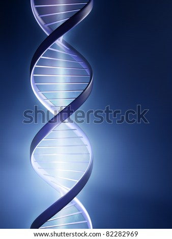 Abstract render of a glowing DNA strand