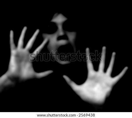 abstract rendering of a frightened, scared boy - stock photo
