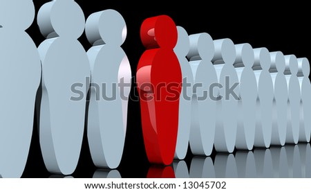 abstract rendering of men-like pawns with one red man standing out