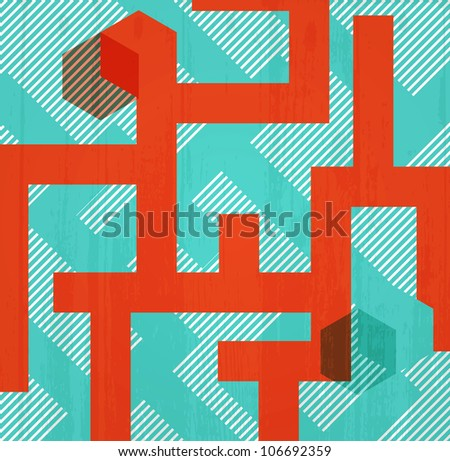 Abstract retro background in form of labyrinth. Book cover