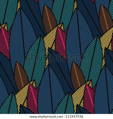 Abstract retro colorful plants print background. Seamless pattern. Illustration.