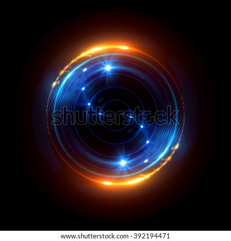 Abstract ring background with luminous swirling backdrop. Glowing spiral. The energy flow tunnel. shine round frame with light circles light effect. glowing cover. Space for your message. #392194471