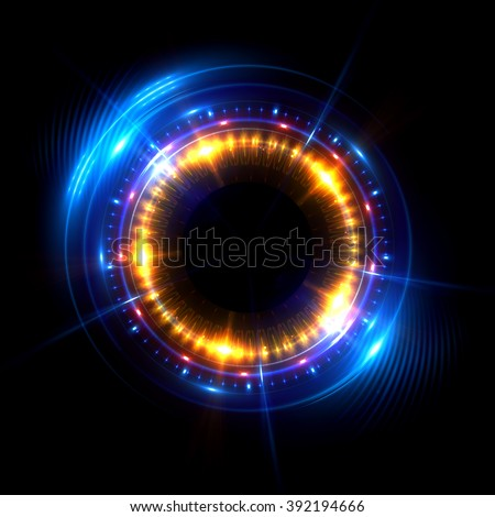 Abstract ring background with luminous swirling backdrop. Glowing spiral. The energy flow tunnel. shine round frame with light circles light effect. glowing cover. Space for your message. Jellyfish #392194666