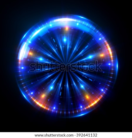 Abstract ring background with luminous swirling backdrop. Glowing spiral. The energy flow tunnel. shine round frame with light circles light effect. glowing cover. Space for your message.  #392641132