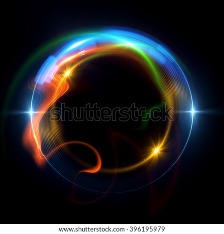 Abstract ring background with luminous swirling backdrop. Glowing spiral. The energy flow tunnel. shine round frame with light circles light effect. glowing cover. Space for your message. #396195979