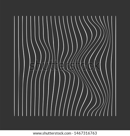 Abstract rippled or gradient lines pattern with wavy vibrant facture on dark grey background. Music cover Square format. Vector illustration Stock fotó ©