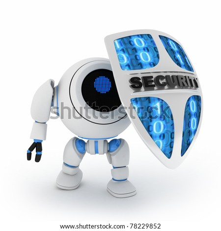 Abstract robot and shield (done in 3d,isolated)