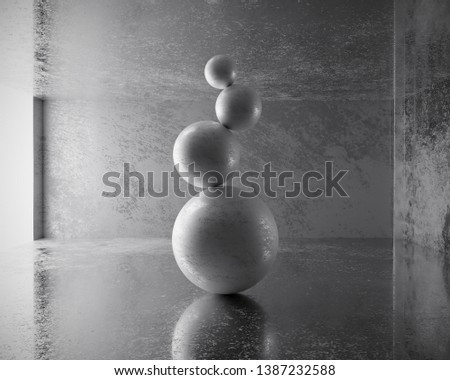 Abstract rock ball balancing yoga placed in reflection concrete background, 3D rendering