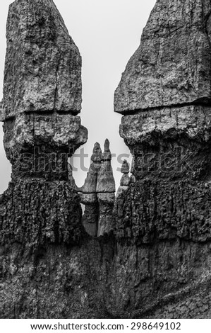 Abstract Rock Formations in the Bryce Canyon Black and White Photography
