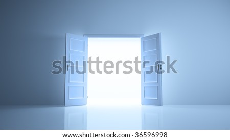 Abstract room with open doors