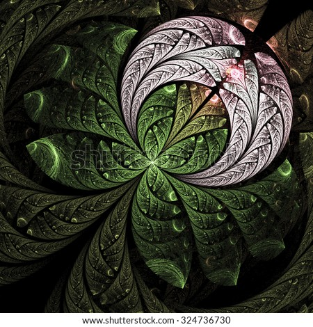 Abstract rosebud with water drops. Computer-generated fractal in emerald green and rose colors.