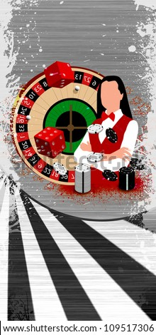 Abstract Roulette wheel an dealer girl background with space