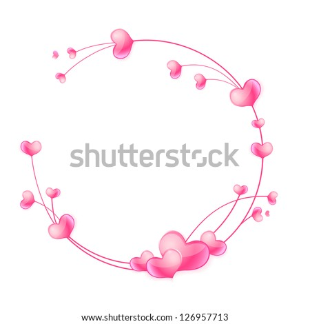 Abstract round frame with hearts and floral ornaments. Raster version.