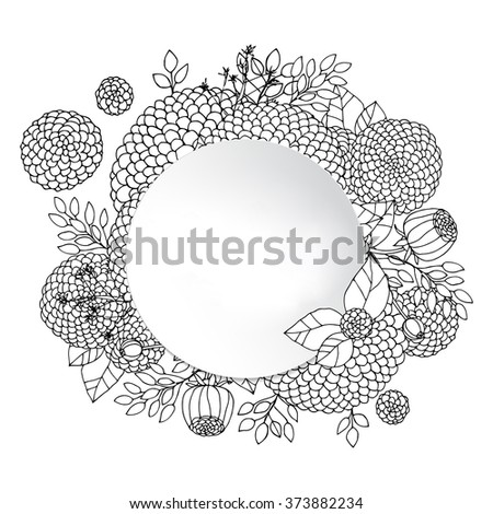 Abstract Round Sketchy Black And White Asters And Leaves Floral Border. Flowers Arranged in a Shape Of Round Frame.