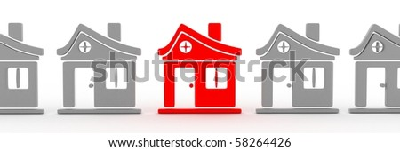 Abstract row homes and selected home (done in 3d) - stock photo
