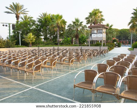 Abstract row of chair seats in open air theater