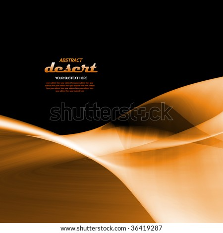 Abstract sandy desert dune landscape shape with copy-space on black background