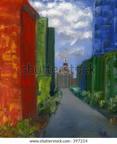 Abstract scene of a city with a church at the end of the street, originally an oil painting by the photographer, Lenora.