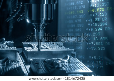 Abstract scene of CNC milling machine and G-code data background. The hi-technology mold and die manufacturing concept by machining center. Photo stock ©