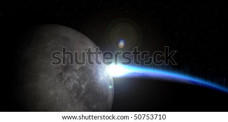 abstract sci-fi background with moon front of earth