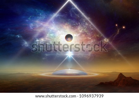 Abstract sci-fi collage - aliens space ship above aliens colony on planet Earth, twisted galaxy, scientific experiment with teleportation to another world. Elements of this image furnished by NASA