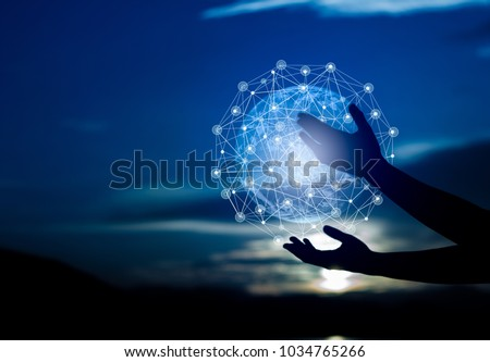 Abstract science, circle global network connection in hands on night sky background  / Blue tone concept