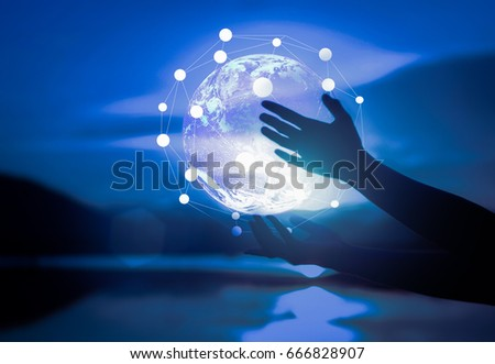 Abstract science, circle global network connection in hands on night sky  background / soft focus picture /  Blue tone concept #666828907