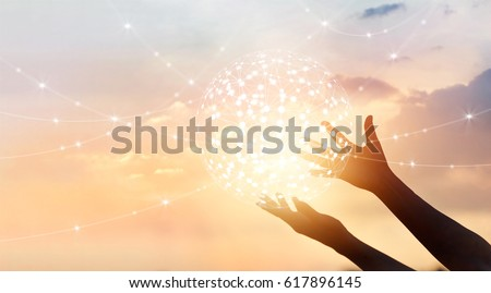 Abstract science, circle global network connection in hands on sunset background