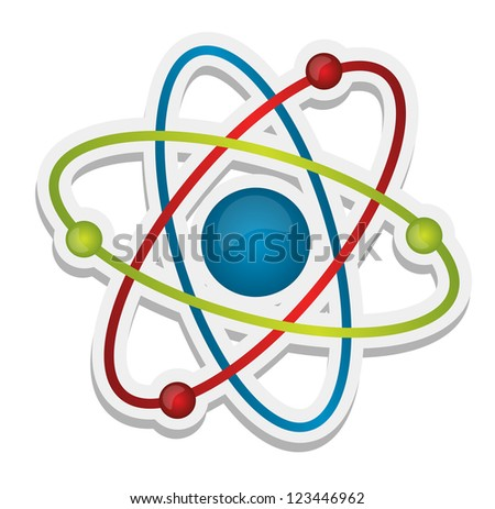 abstract science icon of atom illustration design over white - stock photo
