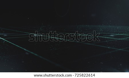 Abstract science technology concept background. digital wave of glowing particles and wireframe #725822614
