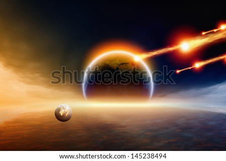 Abstract scientific background - asteroid impact planet Earth. Elements of this image furnished by NASA