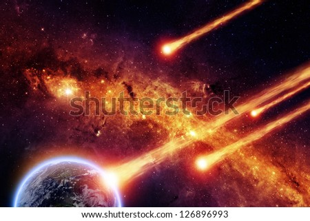 Abstract scientific background - asteroid impact planet earth, red galaxy. Elements of this image furnished by NASA/JPL-Caltech
