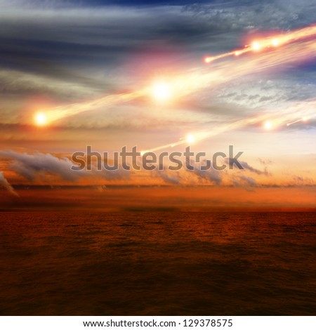 Abstract scientific background - asteroid impact, sunset over sea