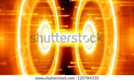 Abstract scientific background. Energy, exploding, research, experiment, collider, time machine