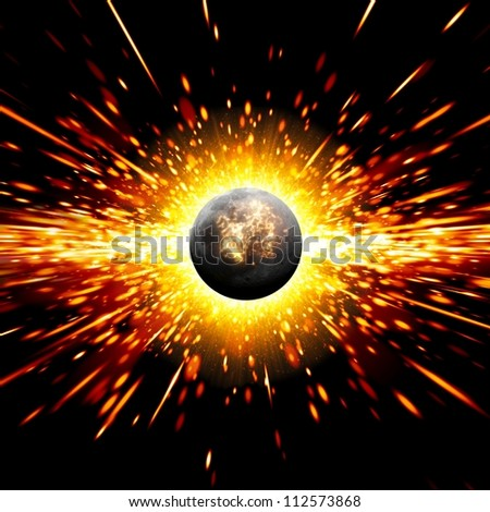 Abstract scientific background - exploding of planet in space - stock photo