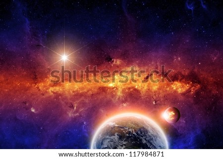 Abstract scientific background - exploding planet and planet earth in space with stars. Elements of this image furnished by NASA-JPL-Caltech