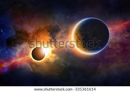 Stock Photo Abstract scientific background - glowing planet Earth in space, solar eclipse, nebula and stars. Elements of this image furnished by NASA nasa.gov